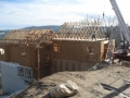 Lake Arrowhead Hillside Roof Being Built